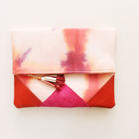 SUNSET 23 / Shibori dyed cotton & Natural leather folded clutch bag - Ready to Ship