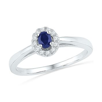 Sterling Silver Women's Oval Lab-Created Blue Sapphire Solitaire Diamond Ring 1/3 Cttw - FREE Shipping (US/CAN)