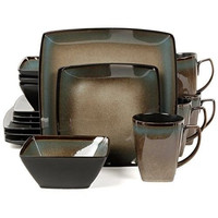 16 pc Square DINNERWARE SET Taupe Stoneware Dishes Dining Plates Bowls Mugs NEW