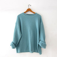 Vintage oversized sweater. aqua blue thermo knit pullover. minimalist sweater.