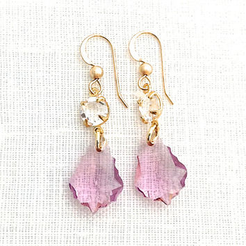 Crystal Drop Earrings, Gold Crystal Earrings, Crystal Pendant, Pink Swarovski Crystal Dangle, Romantic Jewelry, 584
