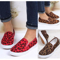 Lady Leopard Printed Flats Slip On Chelsea Loafers Sneakers Skateboarding Shoes