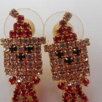"""Vintage Earrings Gold and Red Santa Claus with Rhinestones 3/4"""" Christmas Jewelry Santa - Rudolph - Holiday"""