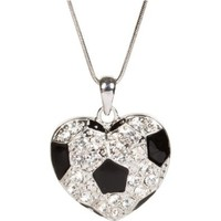 Heirloom Finds Heart Shaped Crystal Soccer Ball Pendant Necklace