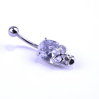 Jewelled Skeleton Skull Belly Button Ring - 316L Stainless Steel