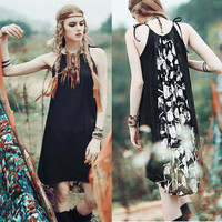 SESOAF Vintage Ethnic Gypsy Women Dresses Spaghetti Off The Shoulder Floral Print Patchwork Pleated Boho People Chiffon Dress