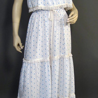 Vintage 70s Dress White Tiered Ruffled Maxi Sweet Blue Pink Flowers Vicky Vaughn S/M