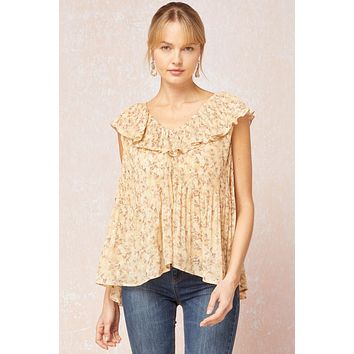 Entro Straw Floral Pint Pleated Ruffle Flounce Top