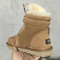 UGG Unisex Wool Fur High Boots Flats