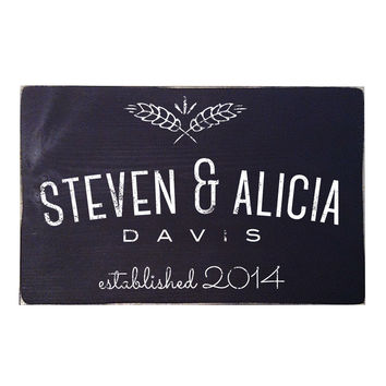 Custom Established Sign, Personalized Family Name Sign, Black and White, 12x7