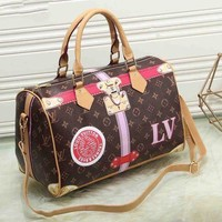 Louis Vuitton Women Leather Handbag Bag Cosmetic Bag Medium Bag Coffee Print