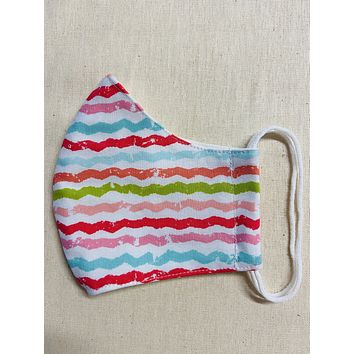 3 Layer Rainbow line Full Face Cup Shaped Mask | Cloth Mask with Non Latex Elastic