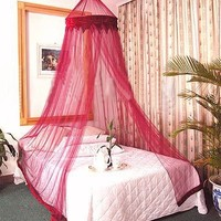 Burgandy Bed Canopy Mosquito Net