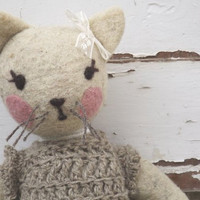 Made to order Teddy Cat  - OOAK Mixed media stuffed cat - Collectible cat doll -made of natural Italian Apennines wool