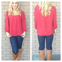 Burgundy Gold Button Back 3/4 Sleeve Blouse