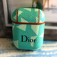 Dior Tide brand Airpods hard shell wireless Bluetooth headset set Green