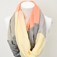 Orange Color Block Striped Scarf