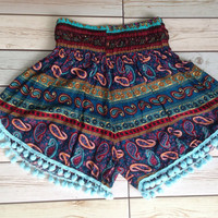 High waisted Pom pom Shorts Paisley Print Boho Summer Chic Fashion Tribal Aztec Ethnic Clothing Bohemian Ikat Cloth pompom Blue Cute Women
