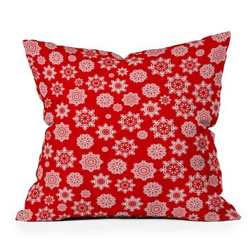 Lisa Argyropoulos Mini Flurries On Red Throw Pillow