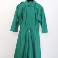Vintage Retro Spring Kelly Green A Line Pleated Trench Coat Size Large Fall Spring Jacket Plus Size Mad Men 1960s 1950s Dress Coat
