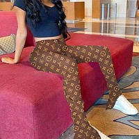 Louis Vuitton LV Monogram Long Pants Trending Women Bell-bottom Trousers Print Trouser