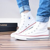 Converse Fashion Canvas Flats Sneakers Sport Shoes White high-tops
