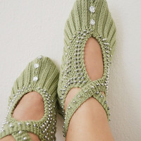 Green silver beaded knit slippers ,authentic regional slippers,Home slippers - OOAK-st partick's day