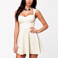 White Cutout-Back Skater Dress