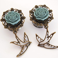 Glamsquared — Swallow Tattoo Inspired Dangle Plugs Large Sizes