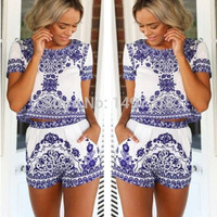 2015 new fashion women two peice novelty dress o-neck summer beach style cool weather casual wear dress