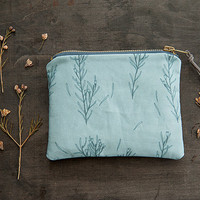 Metal Zipper Storage Pouch - Exclusive Own Illustrated Fabric Design - Waxflowers