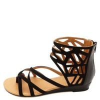 City Classified Strappy Cut-Out Ankle Cuff Sandals - Black