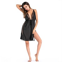 felainse19 Explosive Sling Lace Edge Imitation Silk Homewear Deep V Hollow Open Side Nightdress
