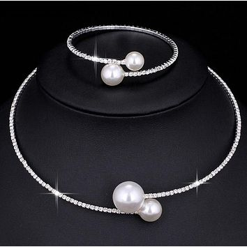 Simulated Pearl Jewelry sets / Adjustable Choker / Earring / Necklace / Bracelet