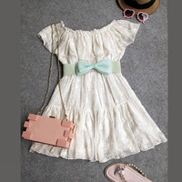 Bow waist dress /DRE0052 from Asian fashion Kawaii
