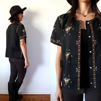 Asian Hand Embroidered Black Chinese Short Sleeve Floral Top