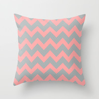 Chevron Gray Coral Pink Throw Pillow by BeautifulHomes | Society6
