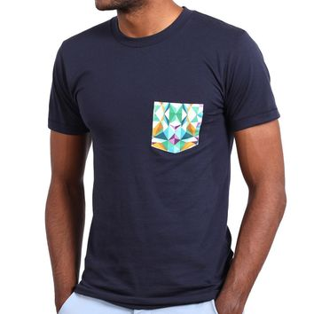 Navy Blue with Kaleidoscope Print Pocket Tee - One Piece Size XXL Available