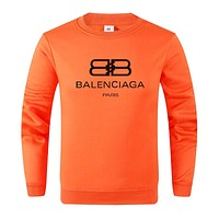 Balenciaga Autumn And Winter New Fashion Letter Print Women Men Long Sleeve Top Sweater Orange