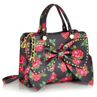 Betsey Johnson Bow Regard Small Satchel, Black Floral, One Size