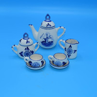 Delft Miniature Tea Set 9 piece Vintage Blue and White Toy Tea Set Windmill Pattern Floral Motif Child's Play Tea Set Shadow Box Set