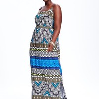 Old Navy Womens Plus Printed Maxi Dresses