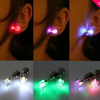 Coool Shiny Glamor Light Up Led Earrings Studs Dance Party Accessories for Party/Xmas (2 PCS)