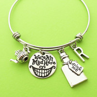 Personalized, Letter, Initial, We are All Mad Here, Drink me, Magic, Kettle, Silver, Bangle, Bracelet, Alice in wonderland, Jewelry