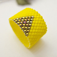 Yellow Ring Beaded Band with Gold Triangle by JeannieRichard