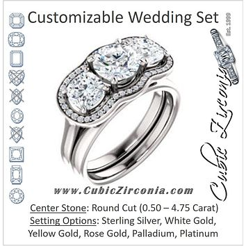CZ Wedding Set, featuring The Aimi Namiko engagement ring (Customizable 3-stone Design with Round Cut Center, Large Round Cut Accents, Triple Halo and Bridge Under-halo)