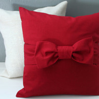 Christmas Red Bow Pillow Cover: Oversize Scarlet Red Bow Accent Pillow, Holiday Throw Pillows, Modern Christmas Home Decor--READY TO SHIP