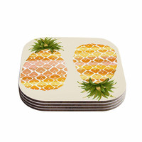 """Judith Loske """"Happy Pineapples """" Yellow Gold Coasters (Set of 4)"""