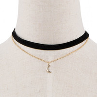 Moon Pendant And Chain Necklace