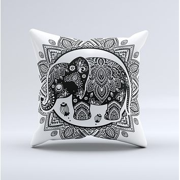 The Indian Mandala Elephant ink-Fuzed Decorative Throw Pillow